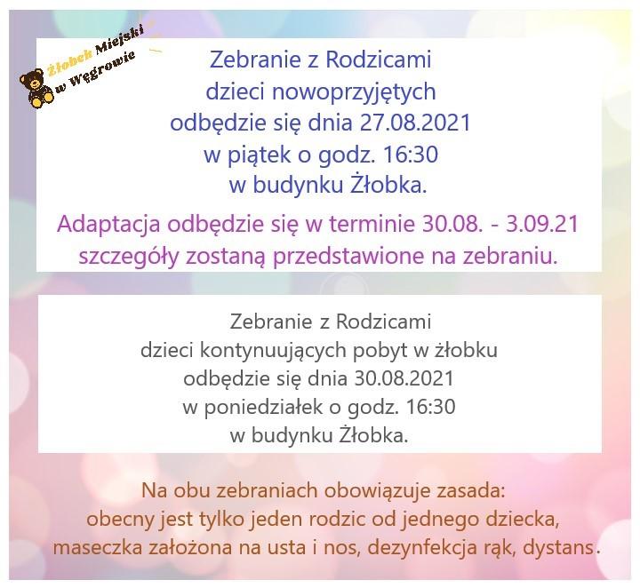 Informacja o zebraniach ROK SZKOLNY 2021/22